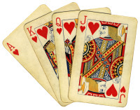 Royal flush (isolated from the background), old used cards