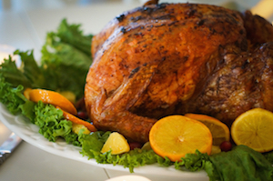 Turkey with leaves and oranges for christmas and thanksgiving